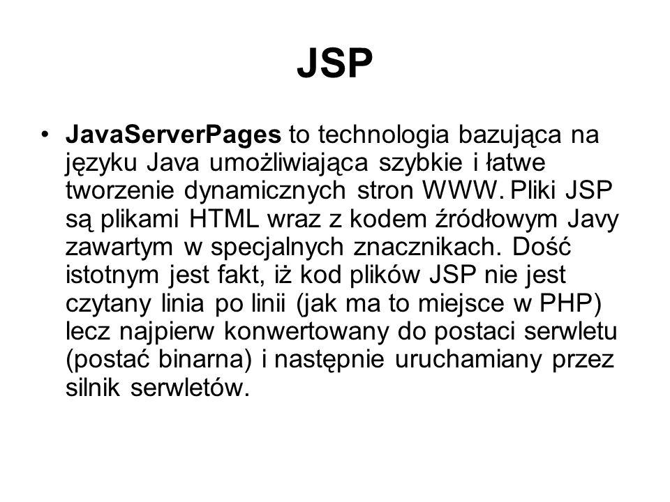 Działanie JSP plik *.jsp jest parsowany i tworzony jest plik źródłowy z kodem Javy (tylko przy pierwszym wywołaniu pliku) plik z kodem Javy zostaje skompilowany do postaci binarnej pliku klasy.