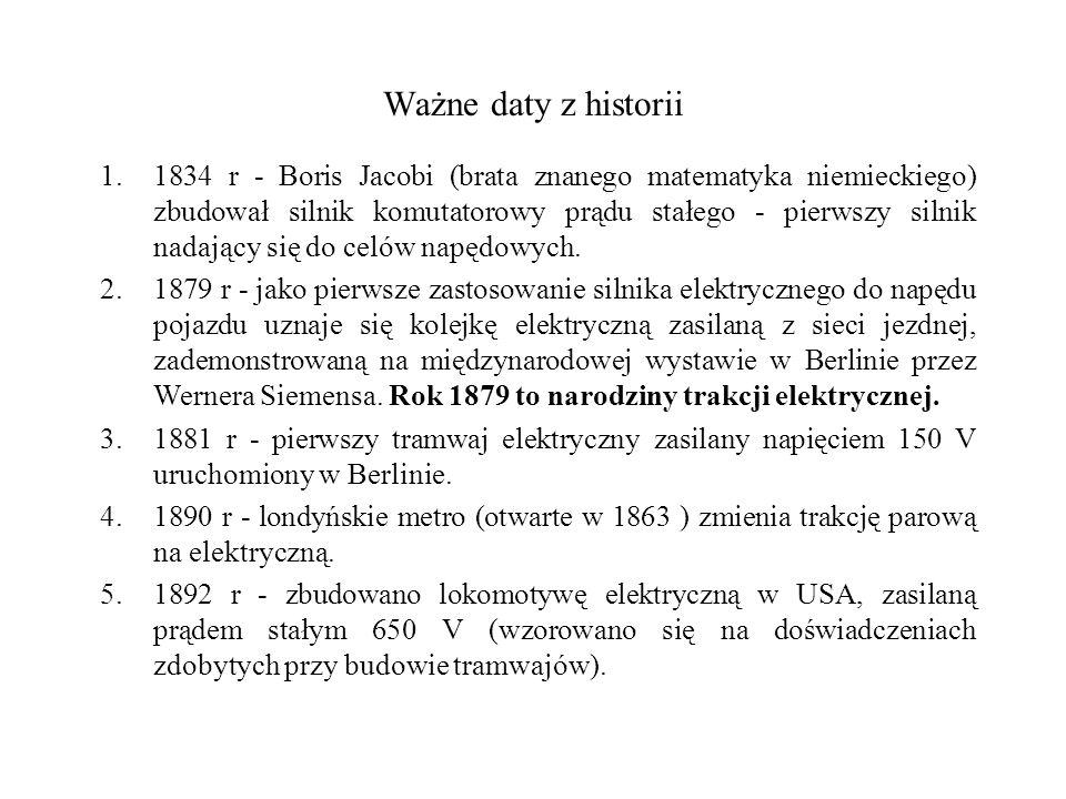 Ważne daty z historii 1.1834 r - Boris Jacobi (brata znanego matematyka niemieckiego) zbudował silnik komutatorowy prądu stałego - pierwszy silnik nad