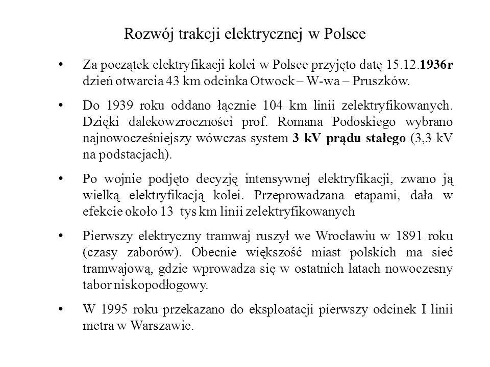 Rozwój trakcji elektrycznej w Polsce Za początek elektryfikacji kolei w Polsce przyjęto datę 15.12.1936r dzień otwarcia 43 km odcinka Otwock – W-wa –