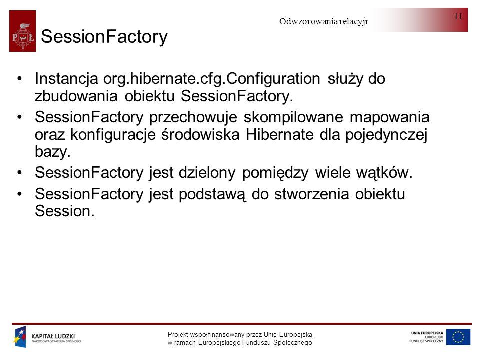 Odwzorowania relacyjno-obiektowe Projekt współfinansowany przez Unię Europejską w ramach Europejskiego Funduszu Społecznego 11 SessionFactory Instancja org.hibernate.cfg.Configuration służy do zbudowania obiektu SessionFactory.