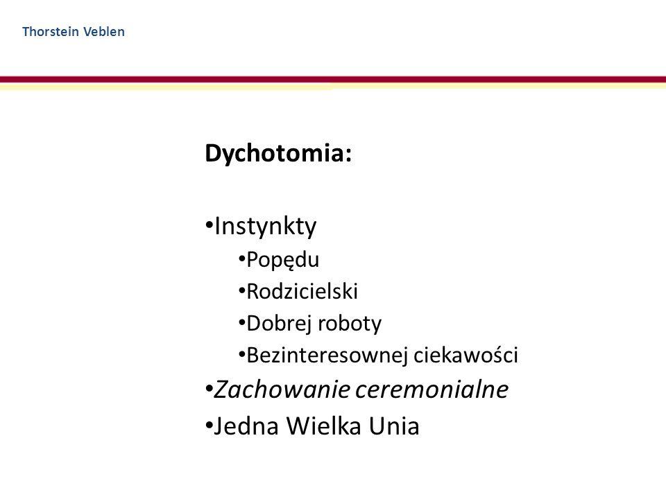 Thorstein Veblen Dychotomia: Instynkty Popędu Rodzicielski Dobrej roboty Bezinteresownej ciekawości Zachowanie ceremonialne Jedna Wielka Unia