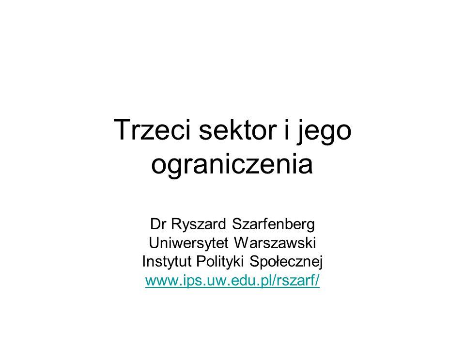 Trzeci sektor i jego ograniczenia Dr Ryszard Szarfenberg Uniwersytet Warszawski Instytut Polityki Społecznej www.ips.uw.edu.pl/rszarf/ www.ips.uw.edu.