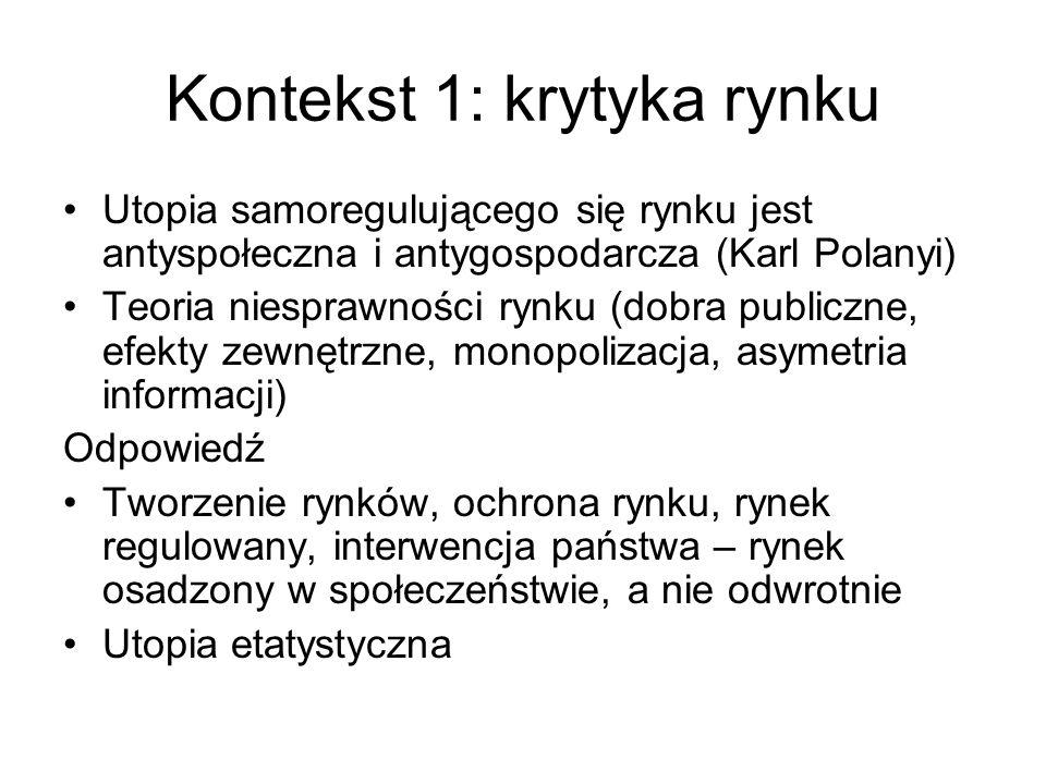 Kontekst 1: krytyka rynku Utopia samoregulującego się rynku jest antyspołeczna i antygospodarcza (Karl Polanyi) Teoria niesprawności rynku (dobra publ