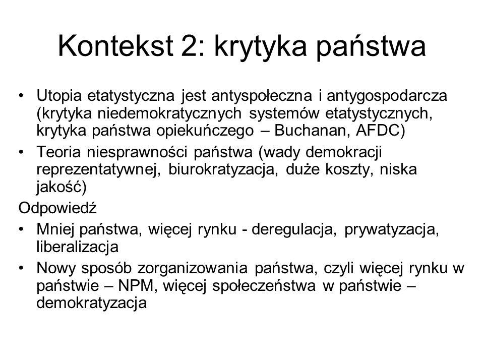 Kontekst 2: krytyka państwa Utopia etatystyczna jest antyspołeczna i antygospodarcza (krytyka niedemokratycznych systemów etatystycznych, krytyka pańs
