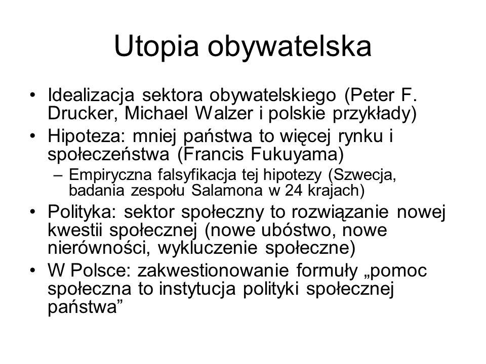 Utopia obywatelska Idealizacja sektora obywatelskiego (Peter F. Drucker, Michael Walzer i polskie przykłady) Hipoteza: mniej państwa to więcej rynku i
