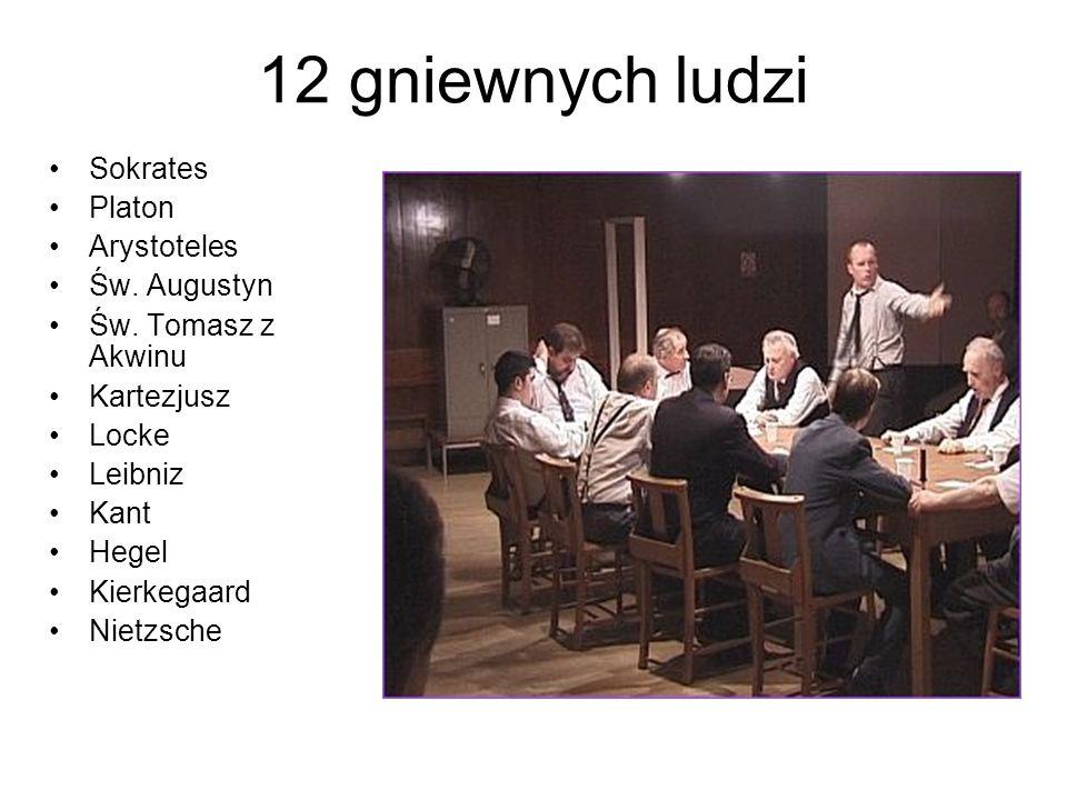 12 gniewnych ludzi Sokrates Platon Arystoteles Św. Augustyn Św. Tomasz z Akwinu Kartezjusz Locke Leibniz Kant Hegel Kierkegaard Nietzsche