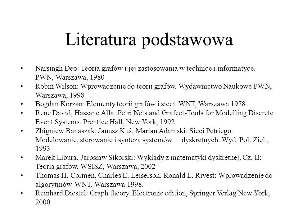 Literatura podstawowa Narsingh Deo: Teoria grafów i jej zastosowania w technice i informatyce. PWN, Warszawa, 1980 Robin Wilson: Wprowadzenie do teori