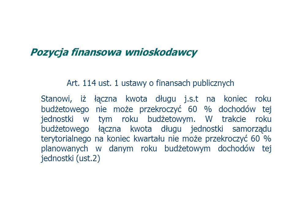Pozycja finansowa wnioskodawcy Art. 114 ust.