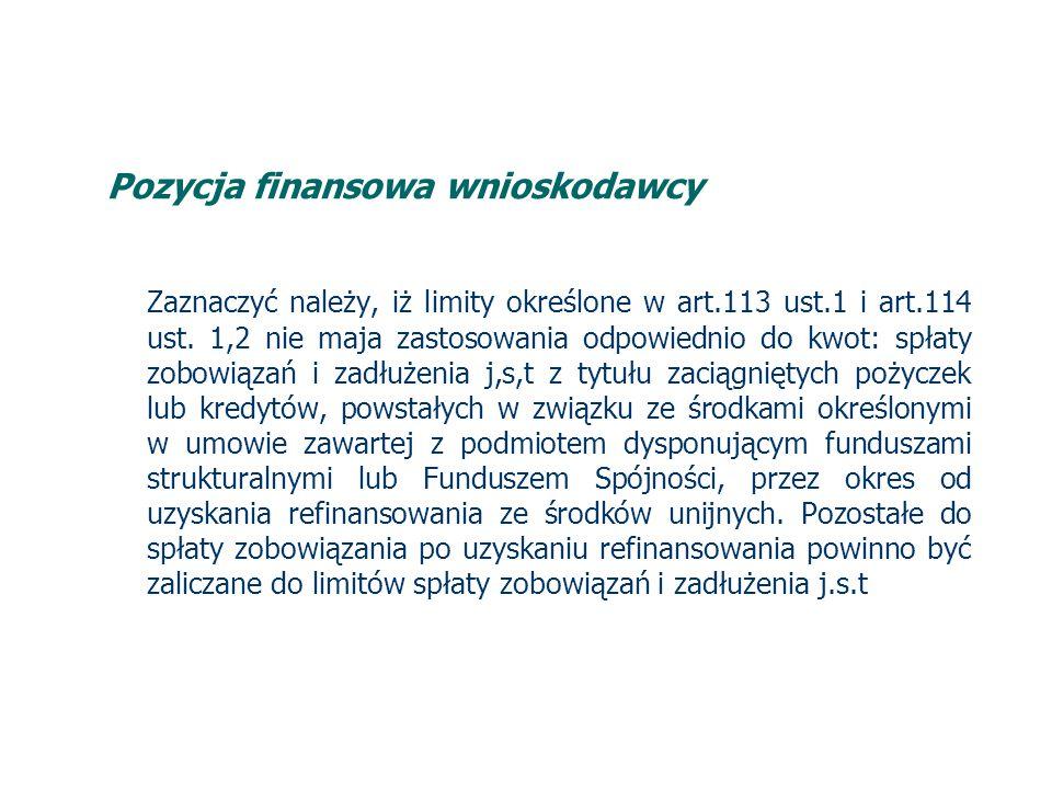 Pozycja finansowa wnioskodawcy Zaznaczyć należy, iż limity określone w art.113 ust.1 i art.114 ust.