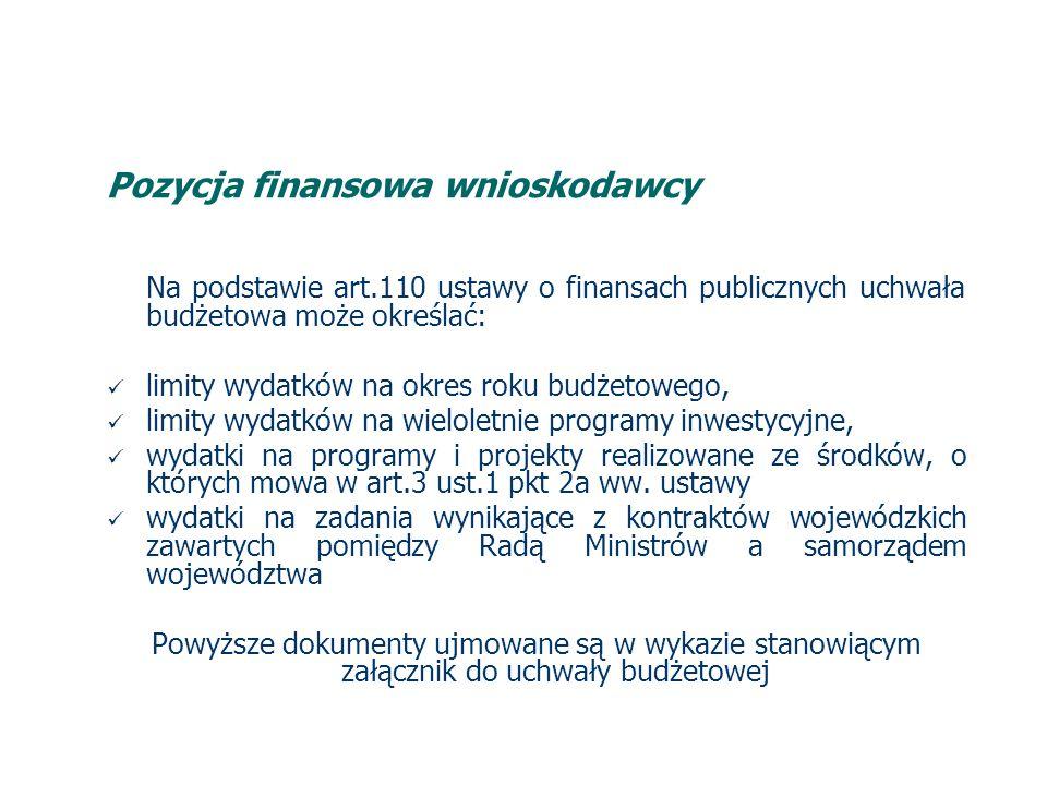 Pozycja finansowa wnioskodawcy Na podstawie art.110 ustawy o finansach publicznych uchwała budżetowa może określać: limity wydatków na okres roku budżetowego, limity wydatków na wieloletnie programy inwestycyjne, wydatki na programy i projekty realizowane ze środków, o których mowa w art.3 ust.1 pkt 2a ww.