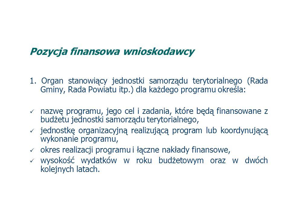 Pozycja finansowa wnioskodawcy 2.