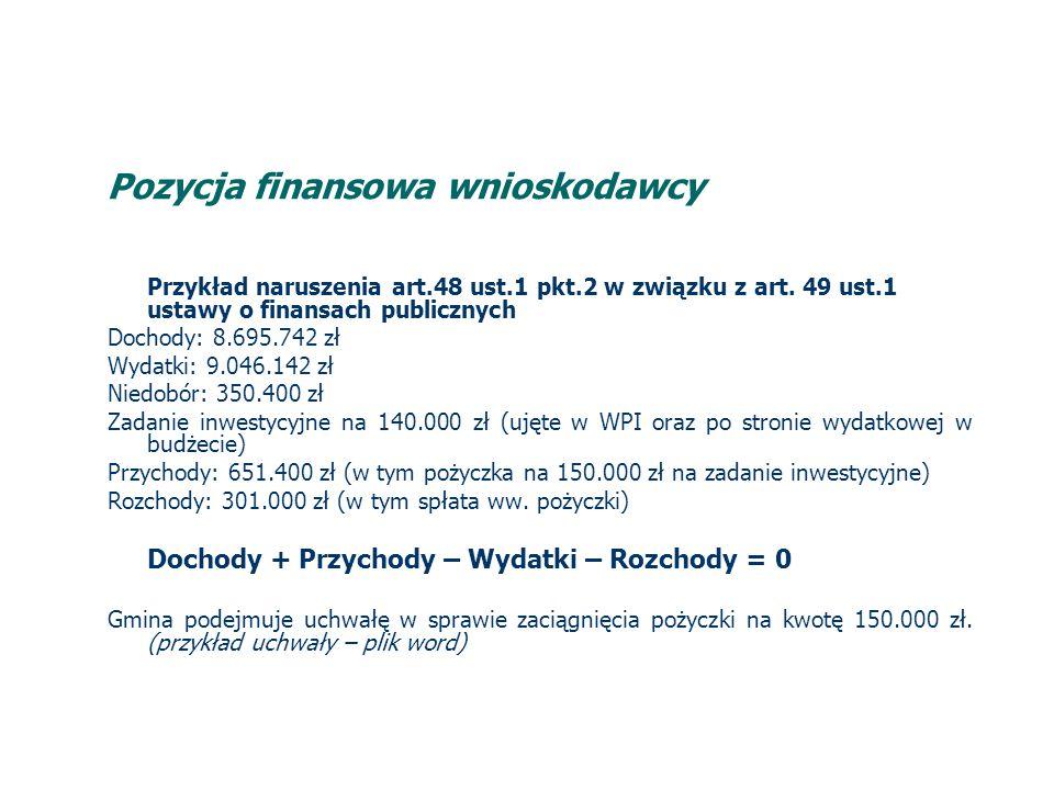 Pozycja finansowa wnioskodawcy Przykład naruszenia art.48 ust.1 pkt.2 w związku z art.