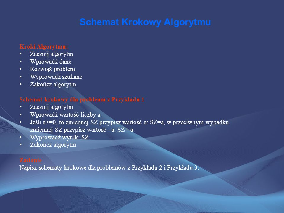 Schemat Krokowy Algorytmu Kroki Algorytmu: Zacznij algorytm Wprowadź dane Rozwiąż problem Wyprowadź szukane Zakończ algorytm Schemat krokowy dla probl