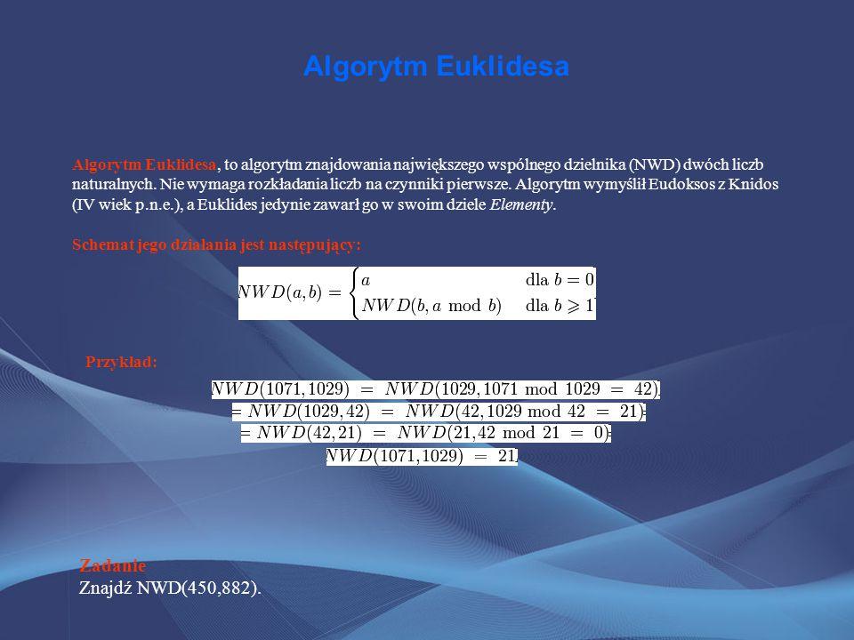 Algorytm Euklidesa Algorytm Euklidesa, to algorytm znajdowania największego wspólnego dzielnika (NWD) dwóch liczb naturalnych. Nie wymaga rozkładania