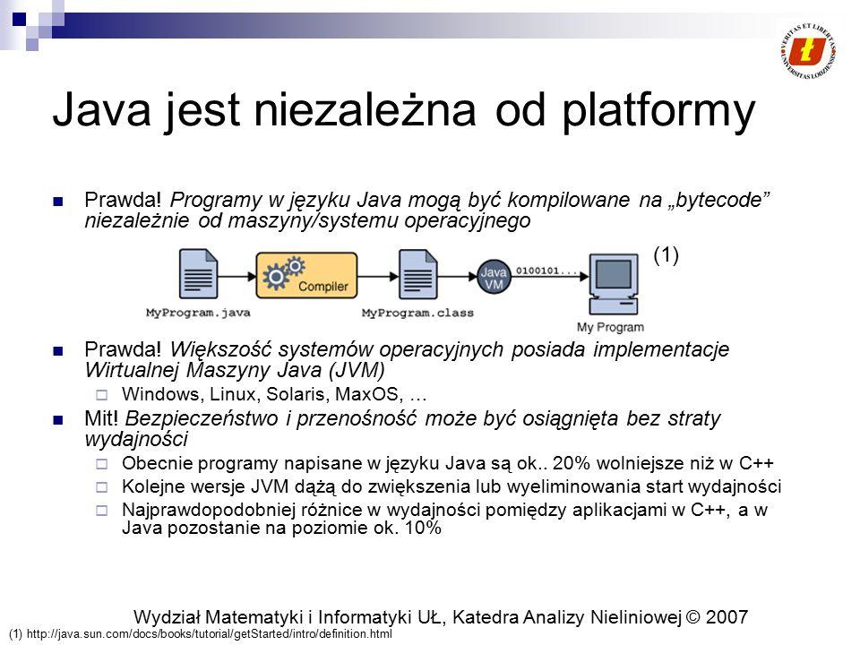 Wydział Matematyki i Informatyki UŁ, Katedra Analizy Nieliniowej © 2007 Java jest niezależna od platformy Prawda! Programy w języku Java mogą być komp