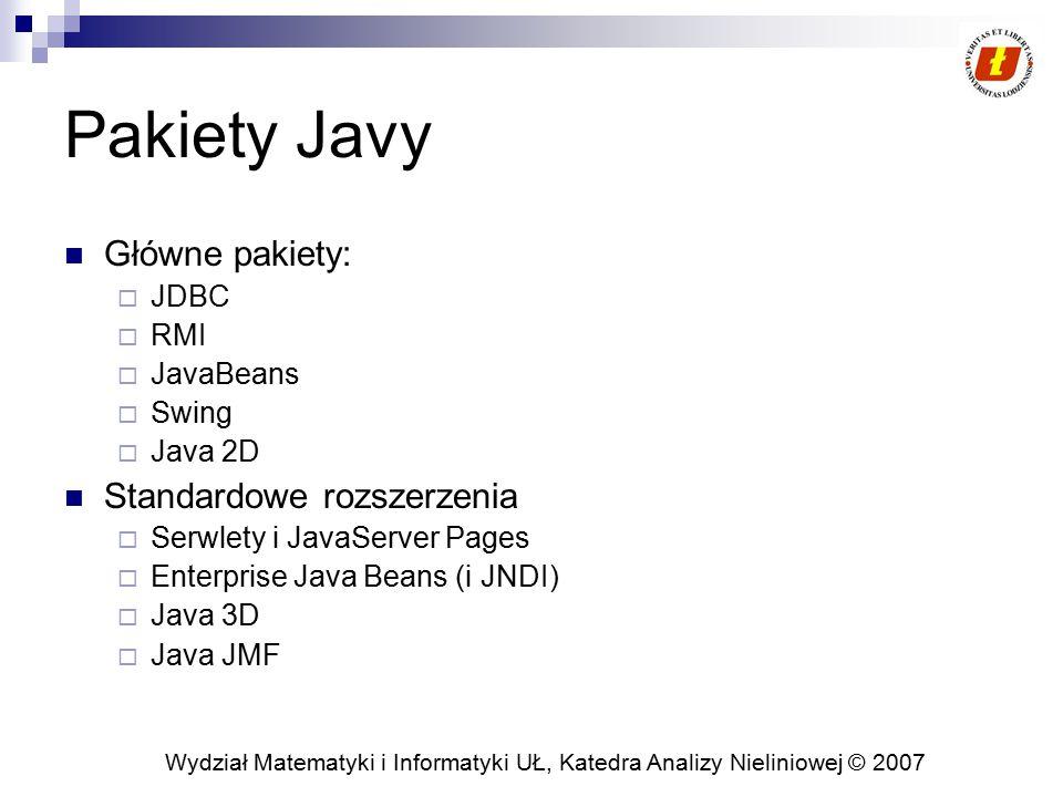 Wydział Matematyki i Informatyki UŁ, Katedra Analizy Nieliniowej © 2007 Pakiety Javy Główne pakiety:  JDBC  RMI  JavaBeans  Swing  Java 2D Standardowe rozszerzenia  Serwlety i JavaServer Pages  Enterprise Java Beans (i JNDI)  Java 3D  Java JMF