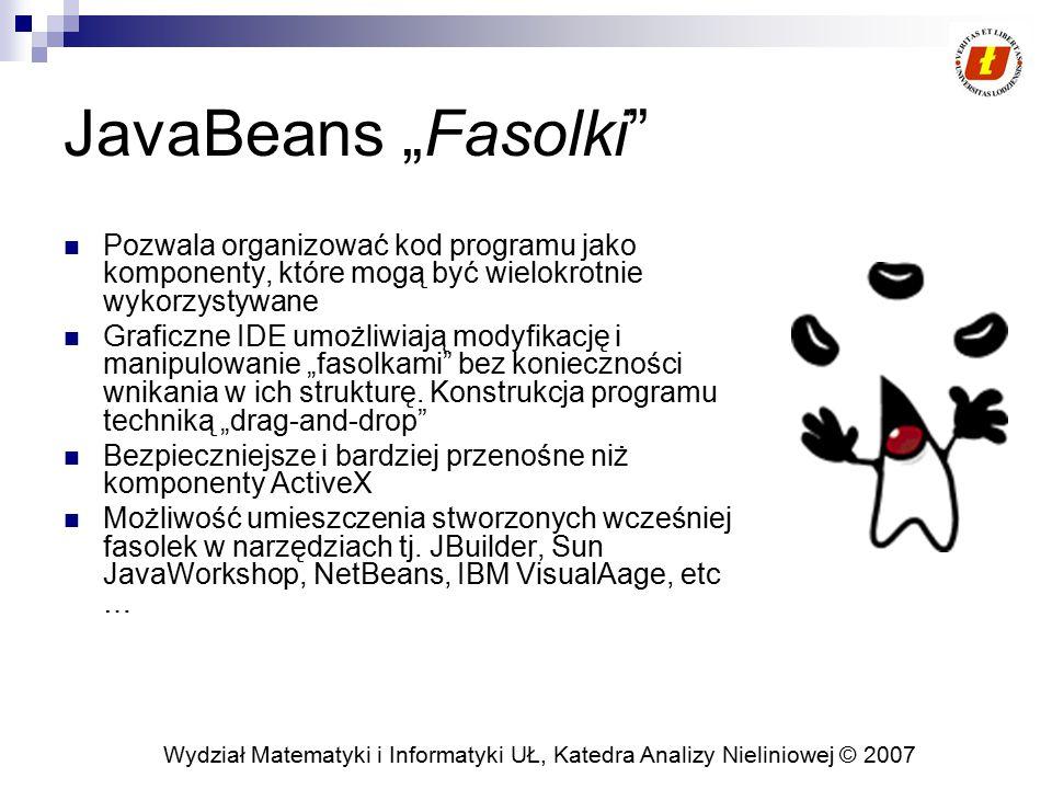 """Wydział Matematyki i Informatyki UŁ, Katedra Analizy Nieliniowej © 2007 JavaBeans """"Fasolki"""" Pozwala organizować kod programu jako komponenty, które mo"""