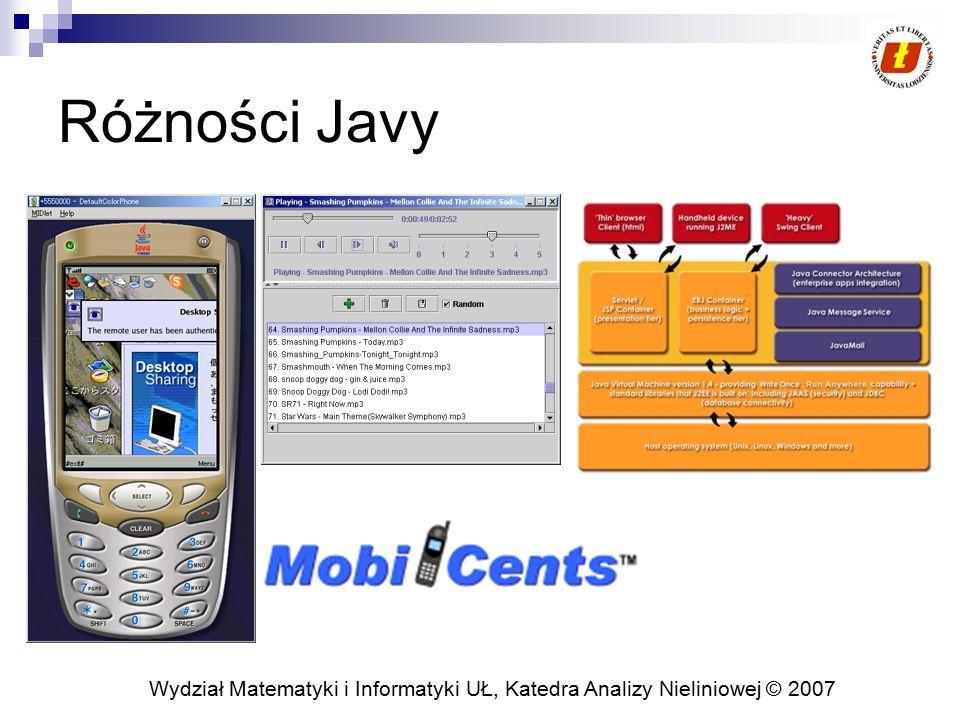 Wydział Matematyki i Informatyki UŁ, Katedra Analizy Nieliniowej © 2007 Różności Javy