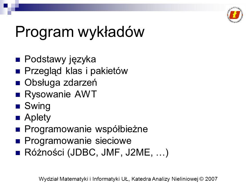 Wydział Matematyki i Informatyki UŁ, Katedra Analizy Nieliniowej © 2007 Program wykładów Podstawy języka Przegląd klas i pakietów Obsługa zdarzeń Rysowanie AWT Swing Aplety Programowanie współbieżne Programowanie sieciowe Różności (JDBC, JMF, J2ME, …)