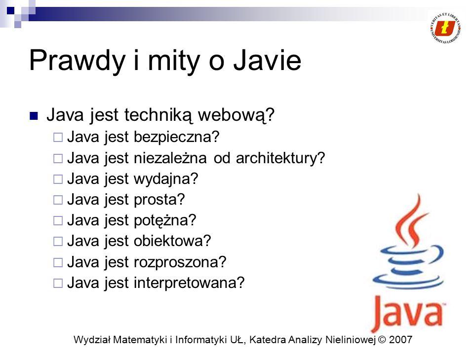 Wydział Matematyki i Informatyki UŁ, Katedra Analizy Nieliniowej © 2007 Prawdy i mity o Javie Java jest techniką webową?  Java jest bezpieczna?  Jav