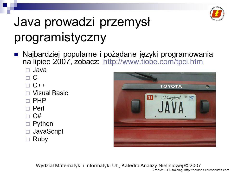 Wydział Matematyki i Informatyki UŁ, Katedra Analizy Nieliniowej © 2007 Java prowadzi przemysł programistyczny Najbardziej popularne i pożądane języki programowania na lipiec 2007, zobacz: http://www.tiobe.com/tpci.htmhttp://www.tiobe.com/tpci.htm  Java  C  C++  Visual Basic  PHP  Perl  C#  Python  JavaScript  Ruby Źródło: J2EE training: http://courses.coreservlets.com
