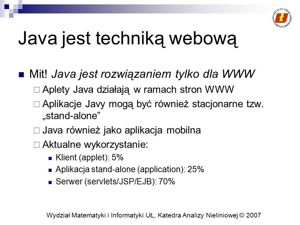 Wydział Matematyki i Informatyki UŁ, Katedra Analizy Nieliniowej © 2007 Java jest techniką webową Mit! Java jest rozwiązaniem tylko dla WWW  Aplety J