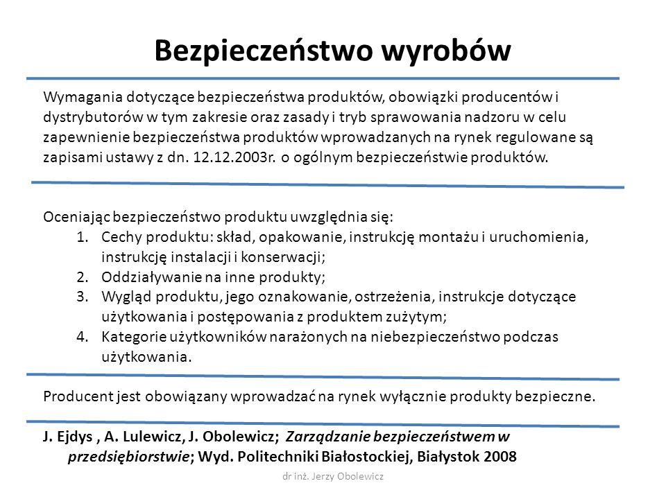 Bezpieczeństwo wyrobów Wymagania dotyczące bezpieczeństwa produktów, obowiązki producentów i dystrybutorów w tym zakresie oraz zasady i tryb sprawowan
