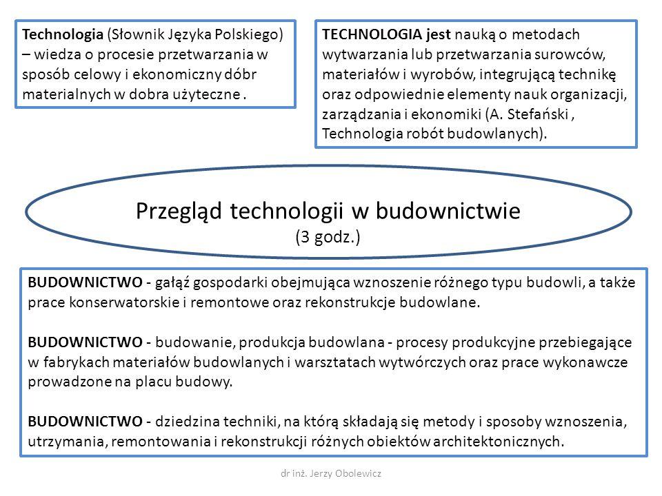 Przegląd technologii w budownictwie (3 godz.) Technologia (Słownik Języka Polskiego) – wiedza o procesie przetwarzania w sposób celowy i ekonomiczny d