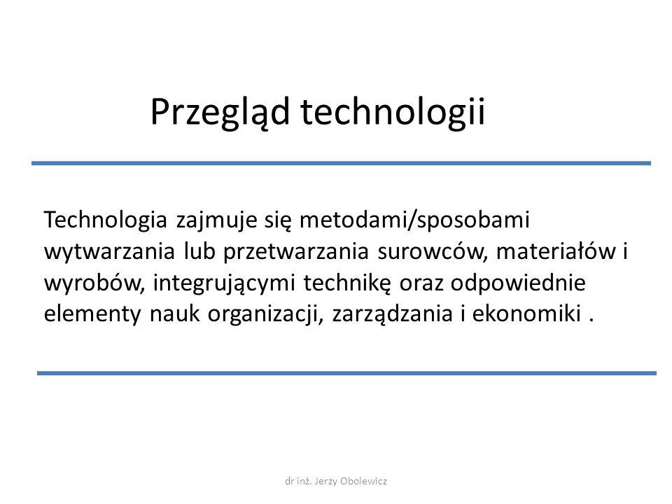 Przegląd technologii Technologia zajmuje się metodami/sposobami wytwarzania lub przetwarzania surowców, materiałów i wyrobów, integrującymi technikę o