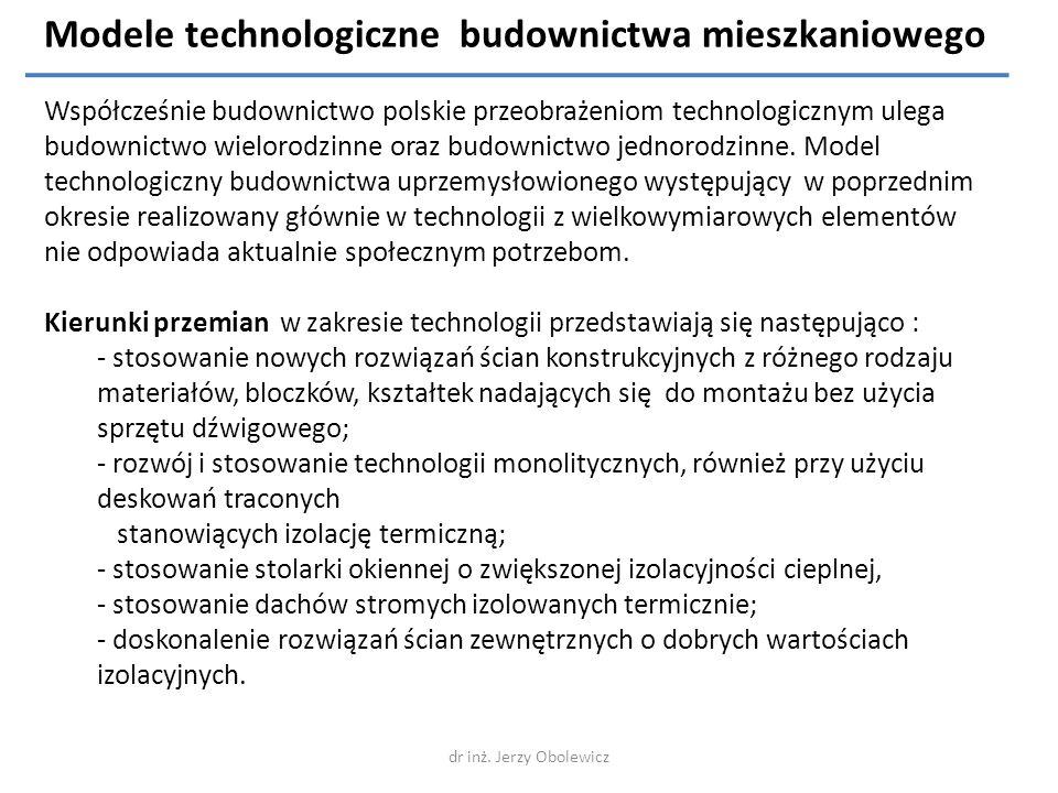 Modele technologiczne budownictwa mieszkaniowego Współcześnie budownictwo polskie przeobrażeniom technologicznym ulega budownictwo wielorodzinne oraz