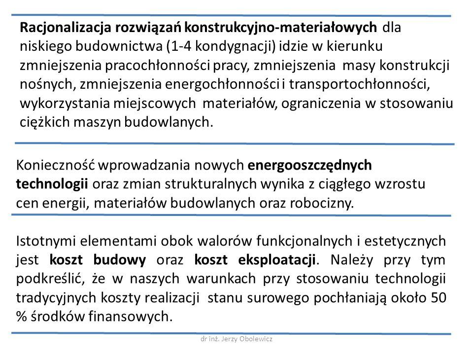 Racjonalizacja rozwiązań konstrukcyjno-materiałowych dla niskiego budownictwa (1-4 kondygnacji) idzie w kierunku zmniejszenia pracochłonności pracy, z