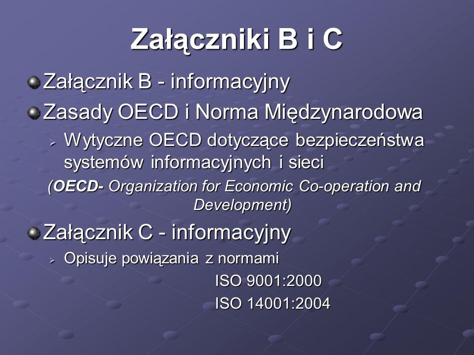 Załączniki B i C Załącznik B - informacyjny Zasady OECD i Norma Międzynarodowa  Wytyczne OECD dotyczące bezpieczeństwa systemów informacyjnych i sieci (OECD- Organization for Economic Co-operation and Development) Załącznik C - informacyjny  Opisuje powiązania z normami ISO 9001:2000 ISO 14001:2004