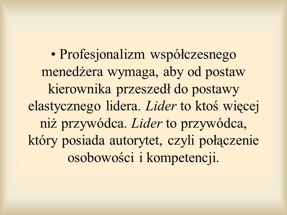 Profesjonalizm współczesnego menedżera wymaga, aby od postaw kierownika przeszedł do postawy elastycznego lidera. Lider to ktoś więcej niż przywódca.