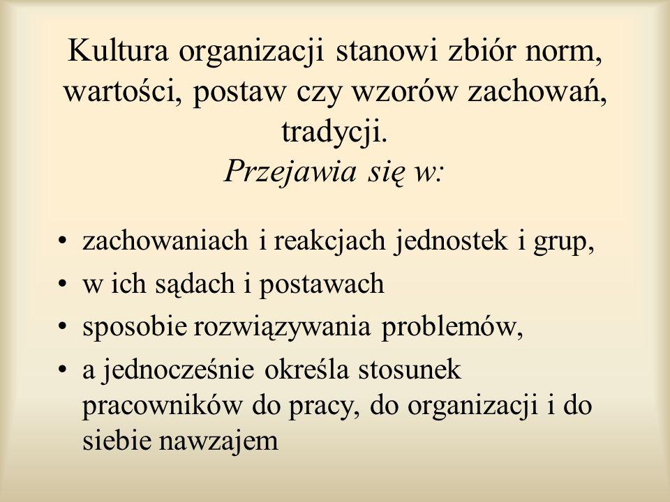 Kultura organizacji stanowi zbiór norm, wartości, postaw czy wzorów zachowań, tradycji. Przejawia się w: zachowaniach i reakcjach jednostek i grup, w