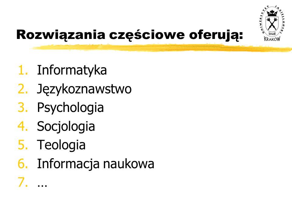 Rozwiązania częściowe oferują: 1.Informatyka 2.Językoznawstwo 3.Psychologia 4.Socjologia 5.Teologia 6.Informacja naukowa 7.…