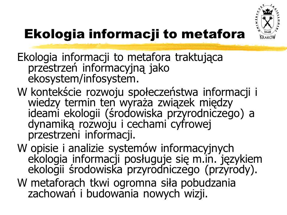 Ekologia informacji to metafora Ekologia informacji to metafora traktująca przestrzeń informacyjną jako ekosystem/infosystem. W kontekście rozwoju spo