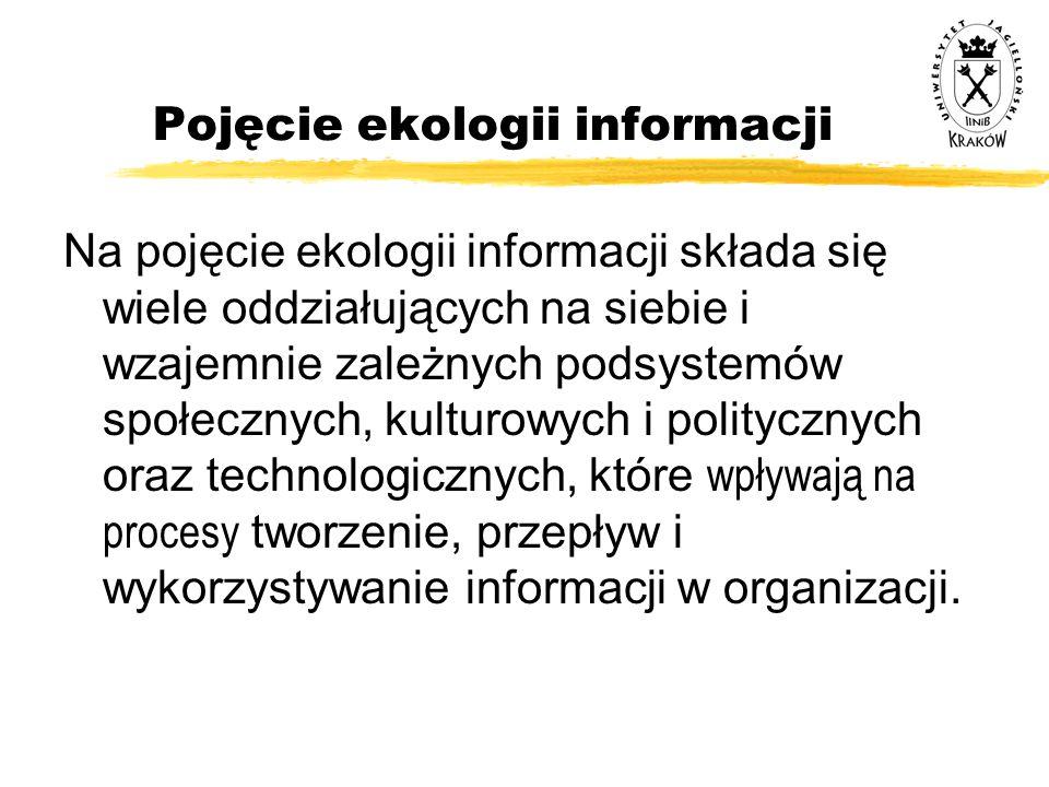 Pojęcie ekologii informacji Na pojęcie ekologii informacji składa się wiele oddziałujących na siebie i wzajemnie zależnych podsystemów społecznych, ku