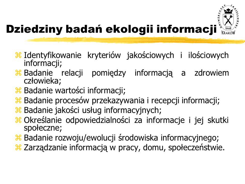 Dziedziny badań ekologii informacji zIdentyfikowanie kryteriów jakościowych i ilościowych informacji; zBadanie relacji pomiędzy informacją a zdrowiem