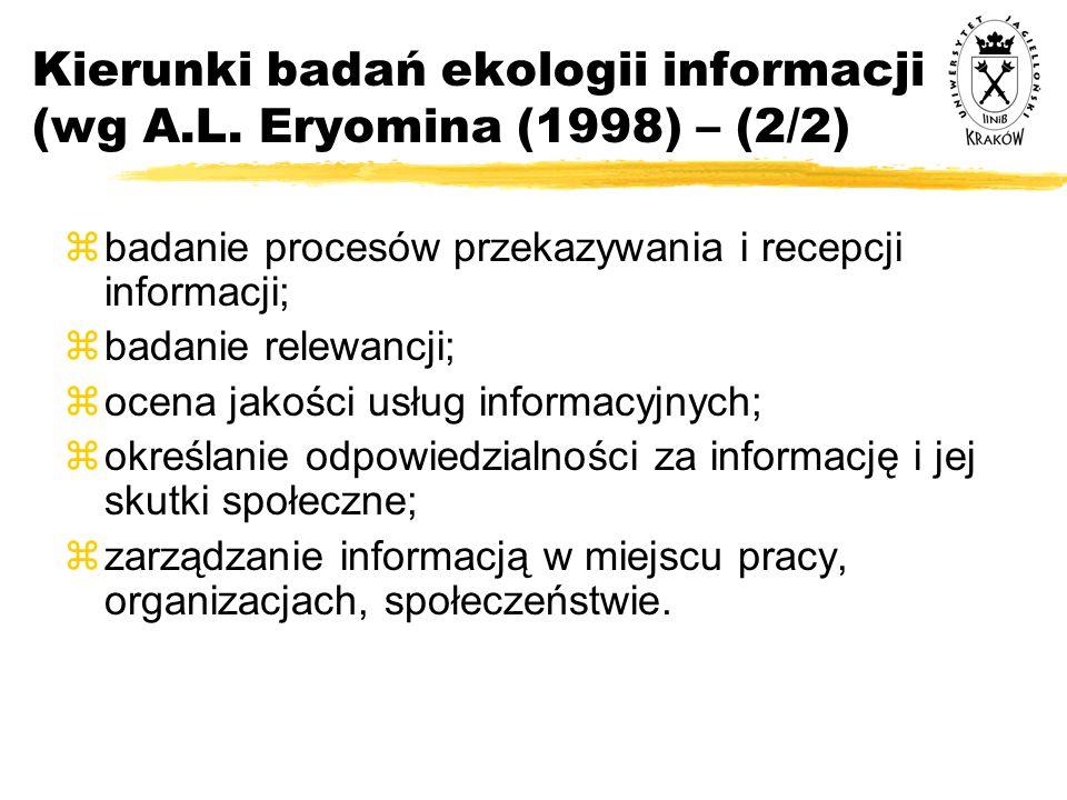 Kierunki badań ekologii informacji (wg A.L. Eryomina (1998) – (2/2)  badanie procesów przekazywania i recepcji informacji;  badanie relewancji;  oc