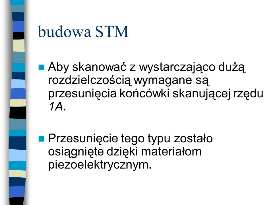 budowa STM Aby skanować z wystarczająco dużą rozdzielczością wymagane są przesunięcia końcówki skanującej rzędu 1A. Przesunięcie tego typu zostało osi
