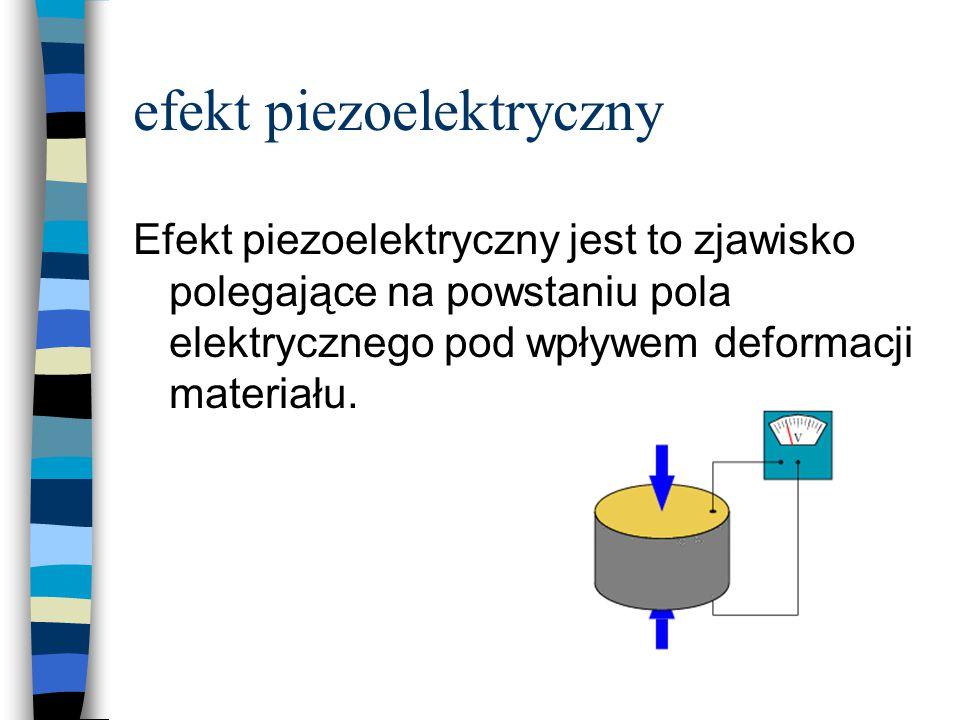 efekt piezoelektryczny Efekt piezoelektryczny jest to zjawisko polegające na powstaniu pola elektrycznego pod wpływem deformacji materiału.