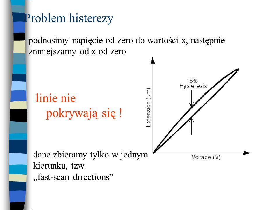 """Problem """"pełzania (Creep) kiedy przyłożymy gwałtownie napięcie, piezoelektryk nie zmieni położenia od razu  spada szybkość powiększania  dostajemy cienie lub rozjaśnienia T Cr → 10-100s pełzanie: powoduje to głównie błędy przy powiększeniu"""