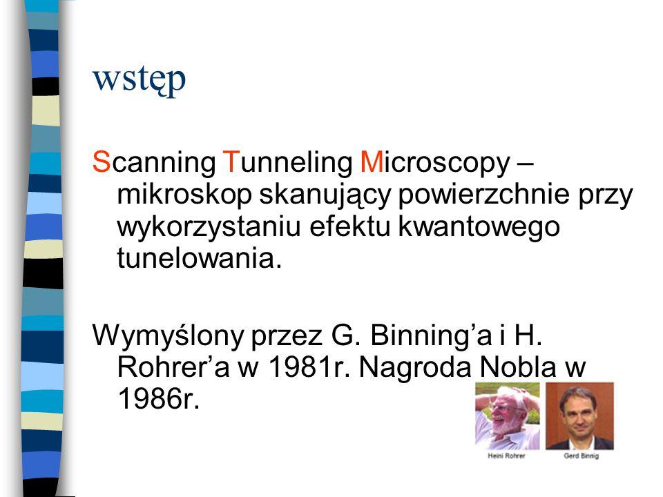 wstęp Scanning Tunneling Microscopy – mikroskop skanujący powierzchnie przy wykorzystaniu efektu kwantowego tunelowania. Wymyślony przez G. Binning'a