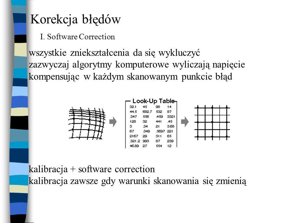 Korekcja błędów I. Software Correction wszystkie zniekształcenia da się wykluczyć zazwyczaj algorytmy komputerowe wyliczają napięcie kompensując w każ