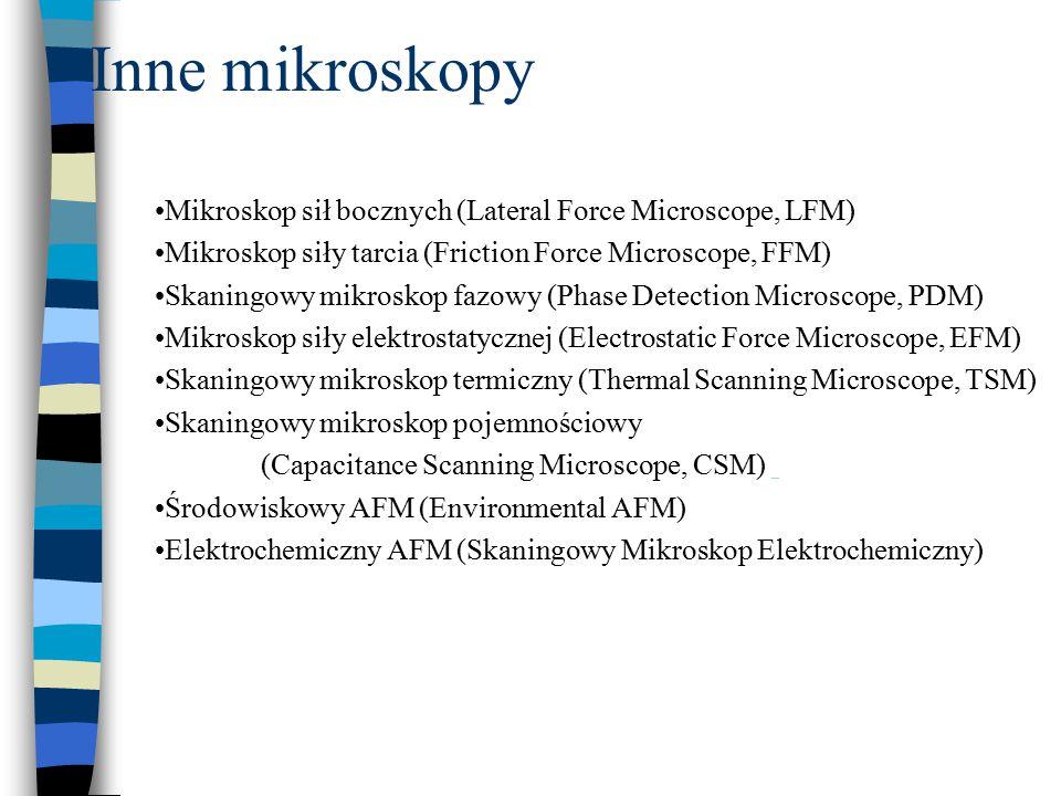 Inne mikroskopy Mikroskop sił bocznych (Lateral Force Microscope, LFM) Mikroskop siły tarcia (Friction Force Microscope, FFM) Skaningowy mikroskop faz