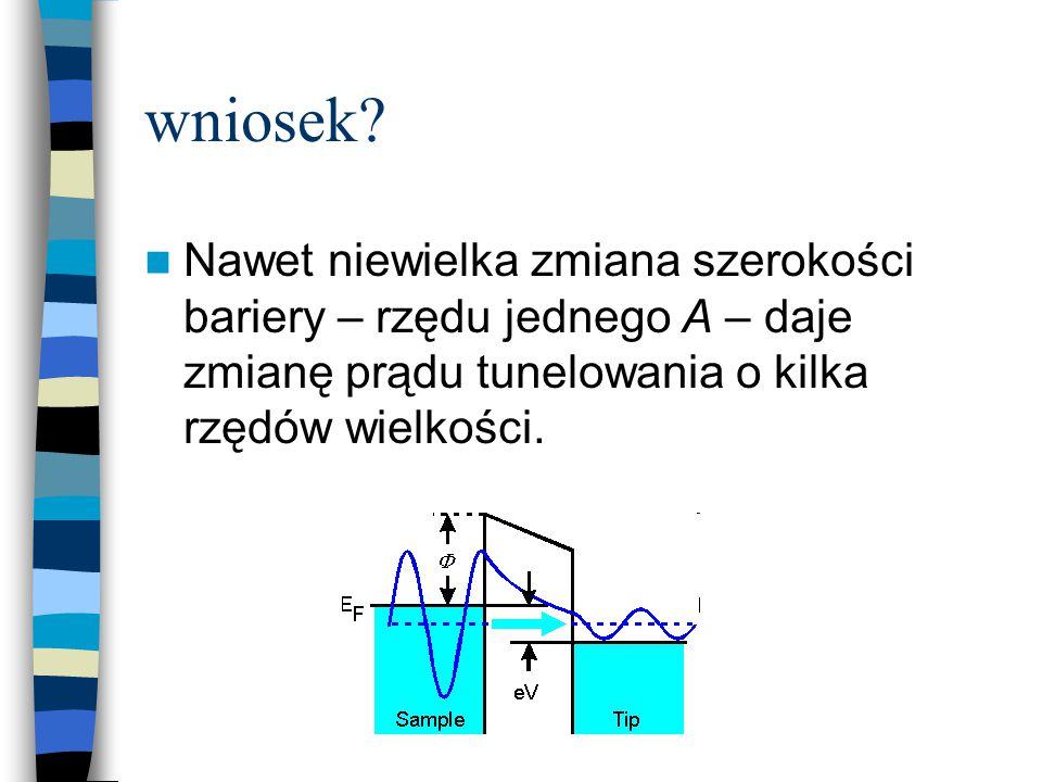 wniosek? Nawet niewielka zmiana szerokości bariery – rzędu jednego A – daje zmianę prądu tunelowania o kilka rzędów wielkości.