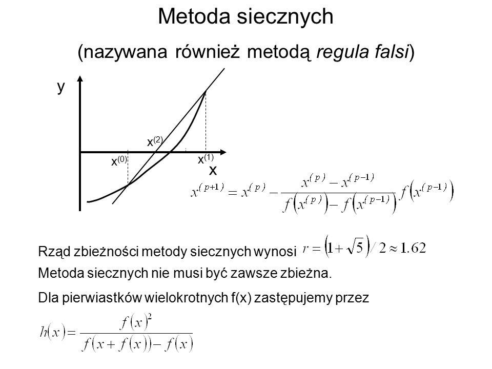 Metoda siecznych (nazywana również metodą regula falsi) y x (0) x x (1) x (2) Rząd zbieżności metody siecznych wynosi Metoda siecznych nie musi być zawsze zbieżna.