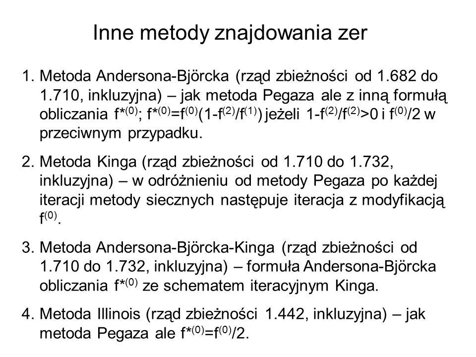 Inne metody znajdowania zer 1.Metoda Andersona-Björcka (rząd zbieżności od 1.682 do 1.710, inkluzyjna) – jak metoda Pegaza ale z inną formułą obliczania f* (0) ; f* (0) =f (0) (1-f (2) /f (1) ) jeżeli 1-f (2) /f (2) >0 i f (0) /2 w przeciwnym przypadku.