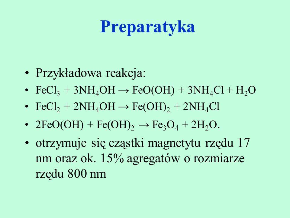 Przykładowa reakcja: FeCl 3 + 3NH 4 OH → FeO(OH) + 3NH 4 Cl + H 2 O FeCl 2 + 2NH 4 OH → Fe(OH) 2 + 2NH 4 Cl 2FeO(OH) + Fe(OH) 2 → Fe 3 O 4 + 2H 2 O. o