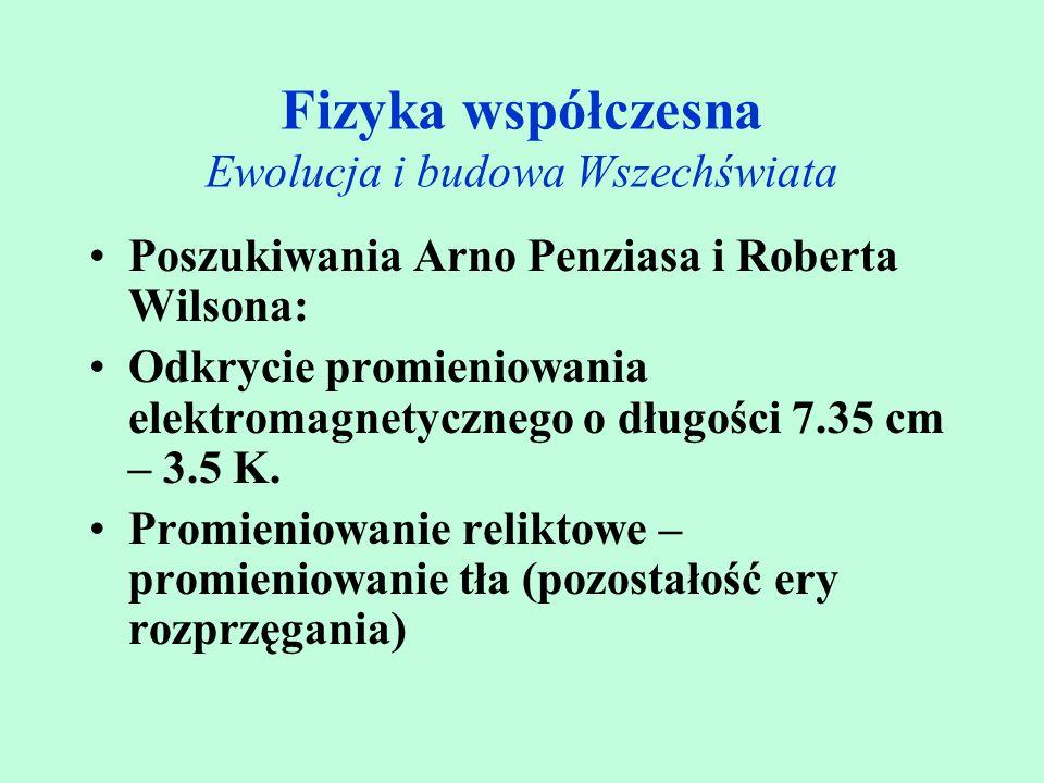 Poszukiwania Arno Penziasa i Roberta Wilsona: Odkrycie promieniowania elektromagnetycznego o długości 7.35 cm – 3.5 K. Promieniowanie reliktowe – prom